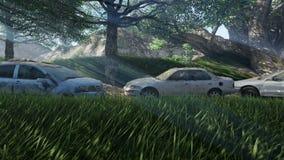 Auto's en de ruïnes en de stralen bij daglicht worden beschadigd dat stock illustratie