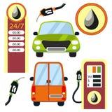Auto's en geplaatste benzinestationelementen Stock Fotografie