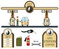 Auto's en geplaatste benzinestationelementen Stock Foto