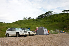 Auto's en kamp stock foto