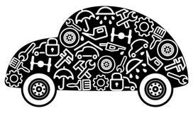 Auto's en vervangstukken stock illustratie