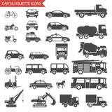 Auto's en Voertuigenvervoer van Silhouetpictogrammen Stock Afbeeldingen