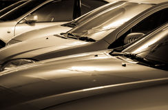 Auto's in gouden kleur Royalty-vrije Stock Foto