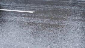 Auto's het drijven op stedelijke weg in regenachtig weer stock video