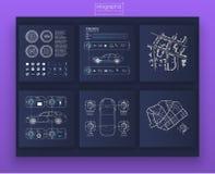 Auto's infographic digitale illustratie Creatieve infographic van het dashboardthema stock illustratie