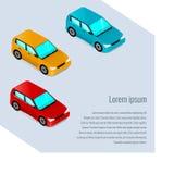 Auto's in isometrische stijl, de autodienst Stock Foto