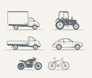 Auto's, motorfietsen, fiets in uitstekende stijl Stock Afbeeldingen