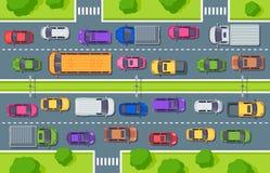 Auto's op asfalt Weg hoogste mening, vrachtwagensauto's over weg en de controle vectorillustratie van het autoverkeer vector illustratie