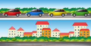 Auto's op de weg en vele gebouwen Stock Foto's