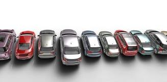 Auto's op Witte Achtergrond Royalty-vrije Stock Fotografie