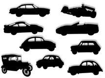Auto's in silhouet royalty-vrije stock afbeelding