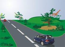 Auto's van sportstijl op de weg stock illustratie