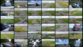 Auto's verschepen, die kleinhandelsgoederen leveren Leverings commercieel bedrijfsconcept Splitscreenmontering stock video