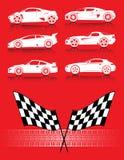 Auto's, vlaggen en bandspoor Royalty-vrije Stock Foto's