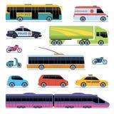 AUTO-SAMMLUNG Fahrzeugstadttransport Autos, Rollermotorrad Städtischer lokalisierter Vektorselbstsatz der Seitenansicht vektor abbildung