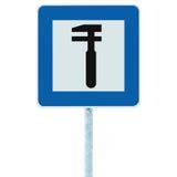 Auto Samochodowa Remontowego sklepu ikona, pojazdu mechanika dylemata usługa garażu Drogowego ruchu drogowego znaka pobocza słupa Obrazy Stock