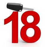 Auto-Schlüssel und darstellendes Geschenk achtzehn Lizenzfreie Stockbilder
