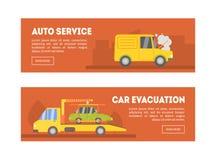 Auto serviço, molde da página da aterrissagem da evacuação do carro, serviço em linha da evacuação, ilustração do vetor do auxíli ilustração do vetor
