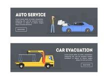 Auto serviço, molde da página da aterrissagem da evacuação do carro, estação do reparo, serviço em linha da evacuação, ilustração ilustração royalty free