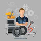 Auto service auto repair auto mechanic tire service Royalty Free Stock Image
