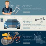 Auto service banner auto repair tire service oil change Royalty Free Stock Photography