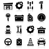 Auto Service Black White Icons Set. With car battery garage toolbox speedometer oil fuel  vector illustration Stock Images