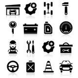 Auto Service Black White Icons Set Stock Images