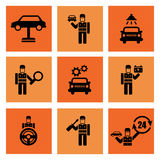 Auto Service Car Mechanic Repair Icons. Auto service car auto mechanic repair icons flat set isolated illustration Stock Photos