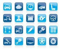 Auto service and car part icons. Vector icon set Stock Photos