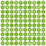 100 auto service center icons hexagon green Royalty Free Stock Photography