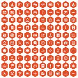 100 auto service center icons hexagon orange. 100 auto service icons set in orange hexagon isolated vector illustration Stock Photography