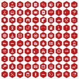 100 auto service center icons hexagon red. 100 auto service icons set in red hexagon isolated vector illustration stock illustration