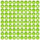 100 auto service center icons set green circle. 100 auto service icons set green circle isolated on white background vector illustration Stock Photos