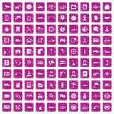 100 auto service center icons set grunge pink. 100 auto service icons set in grunge style pink color isolated on white background vector illustration Royalty Free Stock Photo
