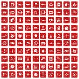 100 auto service center icons set grunge red. 100 auto service icons set in grunge style red color isolated on white background vector illustration vector illustration