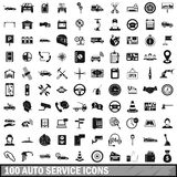 100 auto service center icons set, simple style Royalty Free Stock Photo