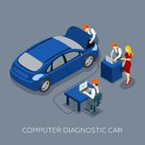 Auto Service Computer Diagnostic Isometric Banner Royalty Free Stock Photos