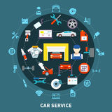 Auto Service Design Concept. With spares and  mechanic tools for diagnostics and maintenance decorative icons set flat vector illustration Royalty Free Stock Photos