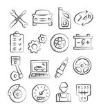 Auto Service Doodle Icons Stock Images