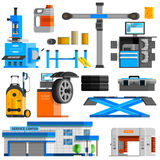 Auto Service Flat Decorative Icons Set Stock Image
