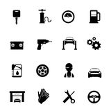 Auto Service Flat Icons Set. In black color with mechanic car garage tools station  vector illustration Stock Photos