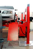 Auto service garage. With car at lift stock image
