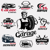 Auto service and garage retro emblems collection Royalty Free Stock Photos