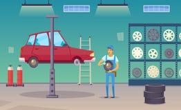 Auto-Service-Garagen-Karikatur-Zusammensetzungs-Plakat stock abbildung