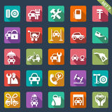 Auto service icon set - flat design Stock Photos