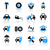 Auto service icons. Set of 16 auto service icons Stock Images