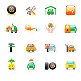 Auto service icons. Set of 16 colorful auto service icons Royalty Free Stock Images