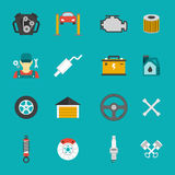 Auto Service Icons Flat set Royalty Free Stock Image