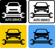Auto service icons set. With car silhouette and spanner Royalty Free Stock Photos