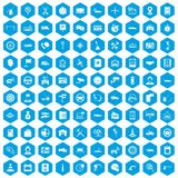100 auto service center icons set blue. 100 auto service icons set in blue hexagon isolated vector illustration Royalty Free Illustration